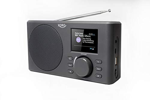 Xoro DAB 150 IR Tragbares Internet-, DAB+ und UKW Radio (Spotify, WLAN, USB, AKKU, APP Steuerung, KH, AUX Out) grau