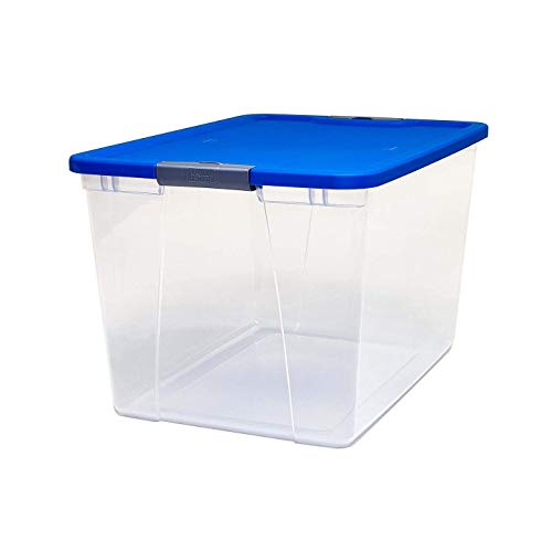 HOMZ Snaplock Clear Storage Bin with Lid, X Large Latching-64 Quart (Set of 2), Blue, 2 Pack