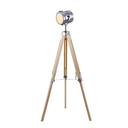 JLXW staande lamp met statief, vintage, industrieel, hout, retro-stijl, creatief, in hoogte verstelbaar, loft-lamp voor woonkamer en slaapkamer (met 3 W gloeilamp), chroom
