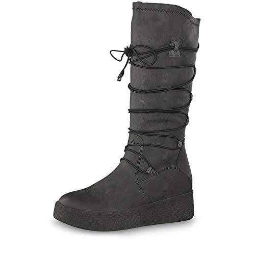Tamaris Damen Stiefel 26625-23, Frauen Winterstiefel, Freizeit leger Winter-Boots Schnee-Stiefel gefüttert warm Damen Lady,Anthracite,40 EU / 6.5 UK