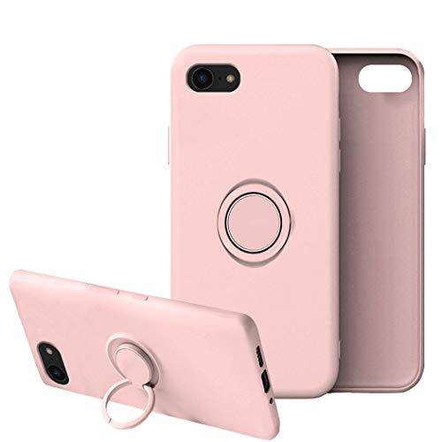 Funda para iPhone 8/8 Plus Apple Case,Fundas iPhone 8/8 Plus Silicona Antigolpes Carcasa Gel de sílice líquido Compatible con Posterior Magnético Iman (iPhone 8, Rosa)