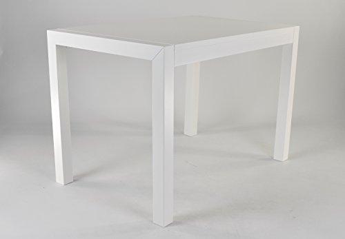 t m c s Tommychairs - Mesa Extensible Greta, 110x70x66 cm, Estructura en Madera de Haya Lacada en Blanco y Tablero en Melamina Mirror Gloss