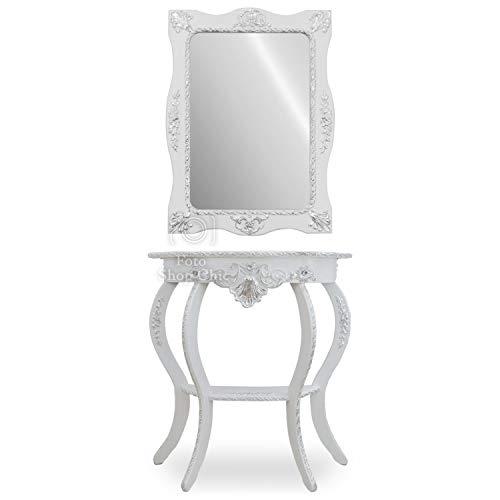 SHOP CHIC consolle con Specchio in Legno Bianco con Profili Argento Ingresso Stile Barocco Moderno mobiletto ad entrata Contemporaneo