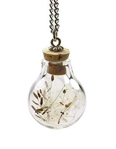 Kette silber echte Pusteblume Löwenzahn Kork lange Halskette echtes Boro Glas