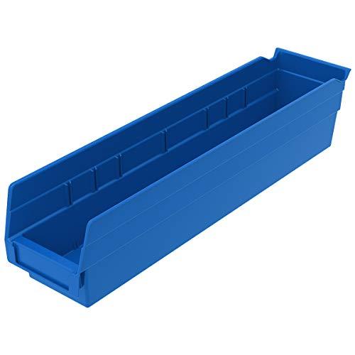 Akro-Mils 30128 Plastic Nesting Shelf Bin Box, (18-Inch x 4-Inch x 4-Inch), Blue, (12-Pack)