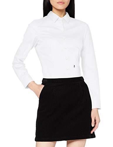 Schwarze Rose Damen Bluse Hemd Hemdbluse Langarm Slim Fit Uni Stretch, Weiß (Weiß 01), 36 (Herstellergröße: 36)