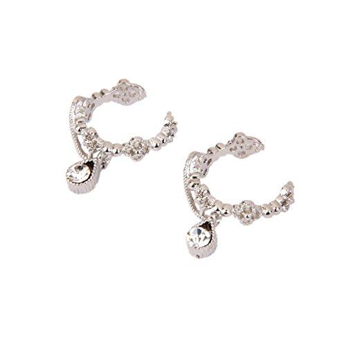 Nobranded Par Pendiente Pendientes de Clip de Diamantes de Imitación de Cristal Ear Cuff Mujer Regalo Plata