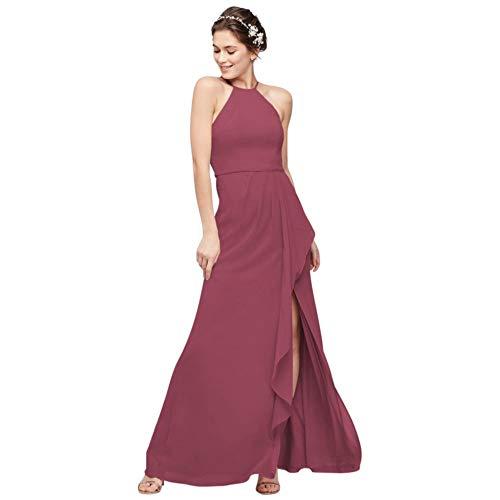 High-Neck Chiffon Bridesmaid Dress with Cascade Style F20014, Chianti, 2