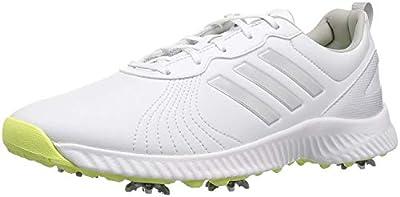 adidas Women's W Response Bounce Golf Shoe, FTWR White/Silver met./semi Frozen Yellow Fabric, 7.5 Medium US