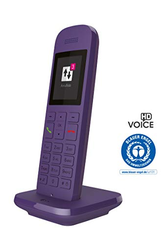 Telekom Festnetztelefon Speedphone 12 in Lavendel schnurlos | Zur Nutzung an aktuellen Routern mit DECT-CAT-iq Schnittstelle (z.B. Speedport, Fritzbox), 5 cm Farbdisplay