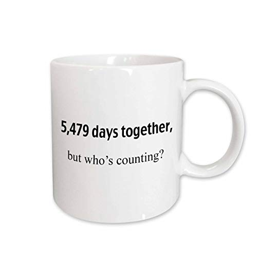 3dRose 5,479 days together but who's counting Ceramic Mug, 11 oz, White