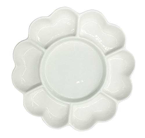 Easyou 7well 6.5' Porcelain Palette Bone China Palette Ceramic Mixing Tray Flower Mixing Plate