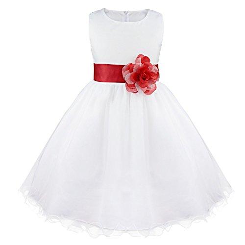 IEFIEL Vestido Elegante de Fiesta para Niña Vestido Cóctel Flores de Dama de Honor Vestido Princesa Dulce Sin Mangas de Boda Ceremonia A Rojo 8 años
