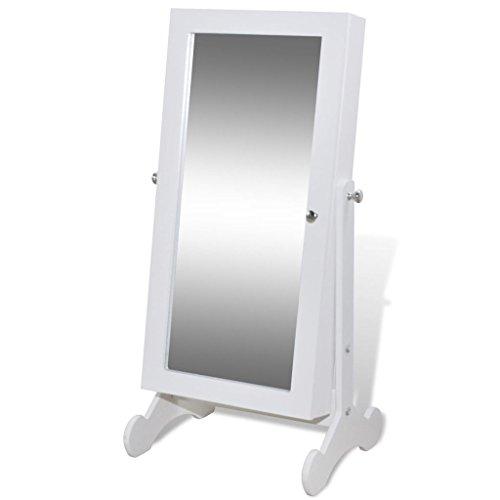 mewmewcat Espejo Joyero de Pie con Luz LED y Ganchos,Colgante Armario Espejo Armario para Joyas,Ángulo Ajustable,Ideal Decoración y Adición Práctica para Habitación,Blanco 30x23x58,5cm