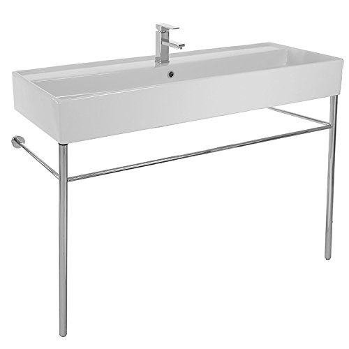 Scarabeo 8031/R-120A-CON-One Hole Teorema Large Rectangular Ceramic Console Sink and Polished Chrome Stand, White