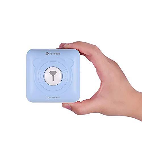 Mini thermoprinter, draadloos Bt beeld mobiele printer, fotoprinter, pocket printer, ontvanger printer met USB-kabel, ondersteunt smartphones Android iOS blauw