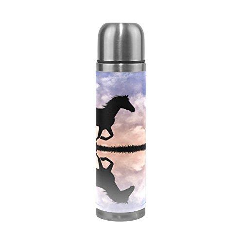 TIZORAX Pferd Silhouette Bei Sonnenuntergang doppelwandige Vakuum Cup Isolierte Edelstahl-Flasche Travel Becher Thermos Kaffee Tasse 17oz