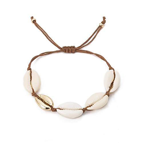 Armband Schmuck Ingemark Bohème Shell Cowries Armband für Frauen Ozean zarter Natur Muschel Hand Strick einfach Match Armband Golden1