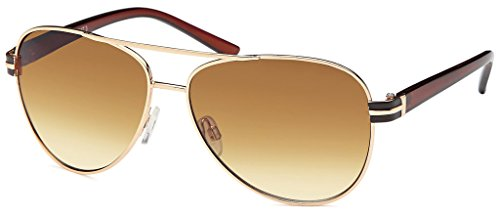Balinco 17 Modelle Damen Pilotenbrille Sonnenbrille 70er Jahre Sunglasses Fliegerbrille (Gold-Braun)