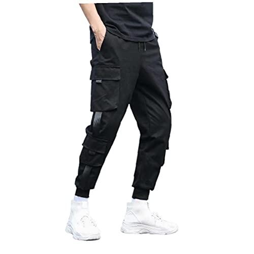 Pantalones Cargo Ocasional del Basculador de los Hombres Pantalones de Hiphop Punk Pantalones Negro (L)