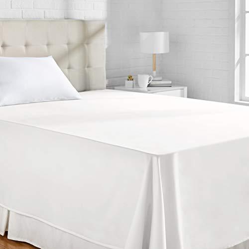 AmazonBasics Bettlaken, Baumwoll-Satin Fadenzahl 400, knitterarm, 180 x 260 + 10 cm - Weiß