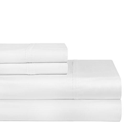 Pointehaven 400 Thread Count Deep Pocket 100-Percent Pima Cotton Sheet Set, Queen, White