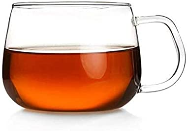 KRIVAT European Glass Coffee Mug with Handle 400 Ml Set of 4 Microwave Safe Borosilicate Glass Cup, Milk, Chocolate & Bev