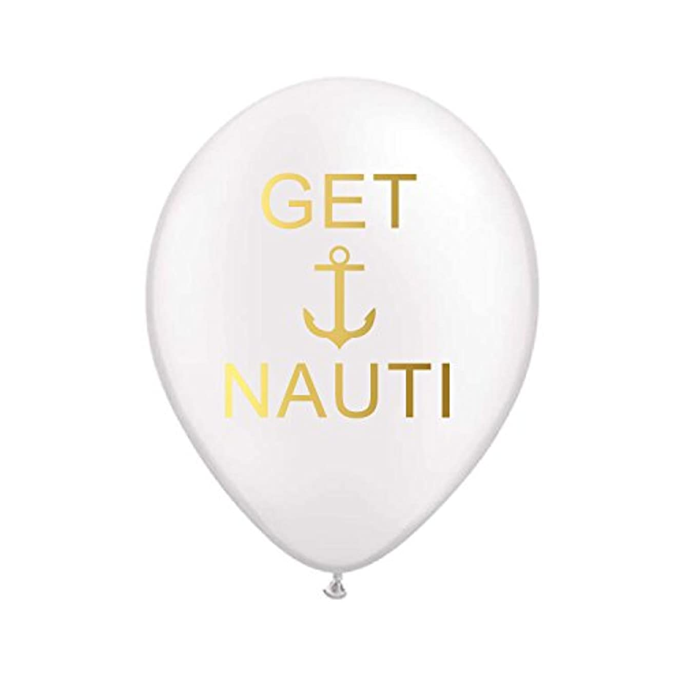 Get Nauti Balloons in White and Gold for a Nautical Bachelorette Party, Nautical Party Decorations, Nautical Party Balloons, Set of 3, Anchor, Sailor Party, Drop Anchor, Nautical Balloons