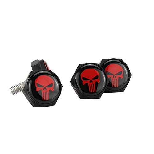 MENGzhuHSA License Plate Frame Screw Bolts For Skull Logo Abarth Alfa Romeo Audi Mercedes BENZ Chrysler Ford Jeep Mitsubishi Car License Plate Screw Bolts For cars (Color : Red)