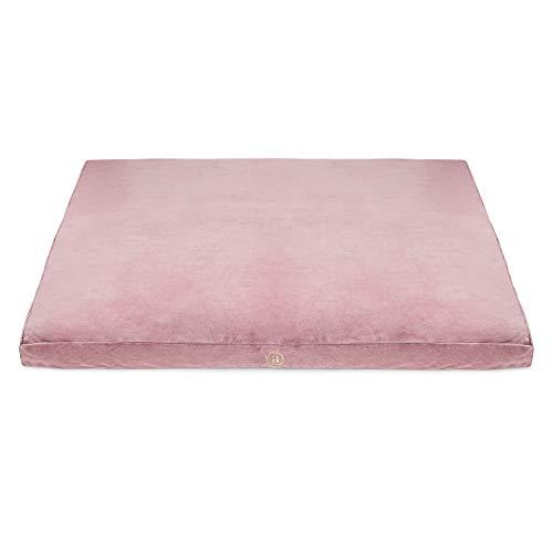 Ajna Velvet Zabuton Meditation Mat - Luxurious Meditation Cushion Floor Pillow - Zabuton Meditation Cushion Large - 100% Cotton Filling (Rose Quartz)