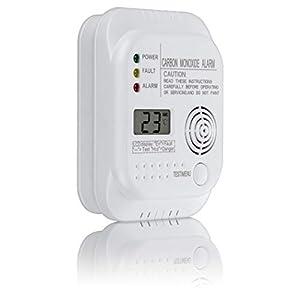 SEBSON Detector monoxido de carbono, EN 50291, alimentado por baterías, CO alarma, Detector de gas con pantalla e indicador de temperaturaSEBSON Detector ...