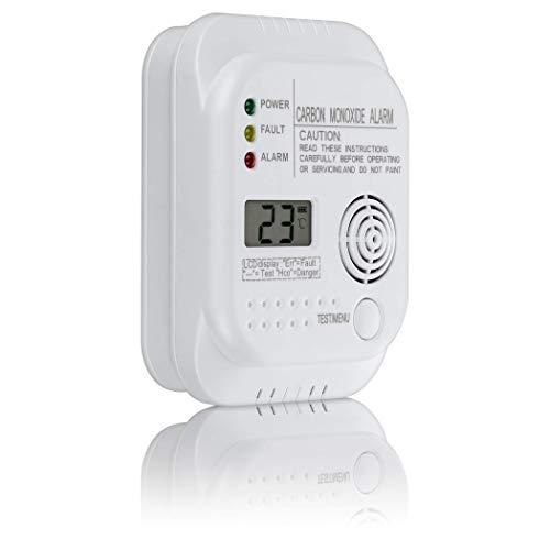SEBSON Kohlenmonoxid CO Melder, EN 50291 Zertifiziert, batteriebetrieben, Gasmelder mit Display und Temperaturanzeige