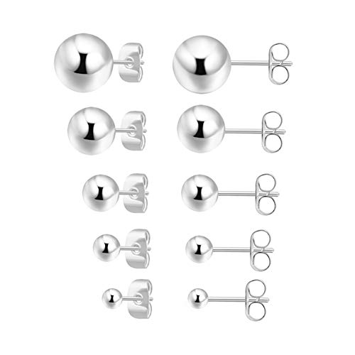 5 Pairs Tiny Sterling Silver Ball Stud Earrings Set for Women Girls 2mm 3mm 4mm 5mm 6mm