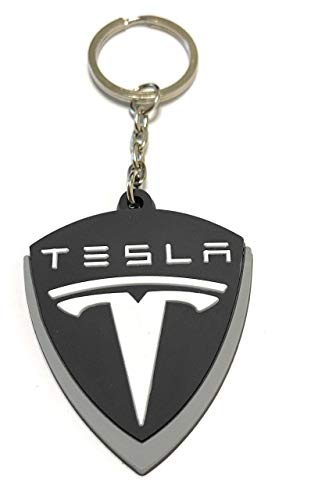 WetheFounders Automotive Car Keychains Tesla Keyring Accessories and Gifts Black and White Rubber One-Sided Model S