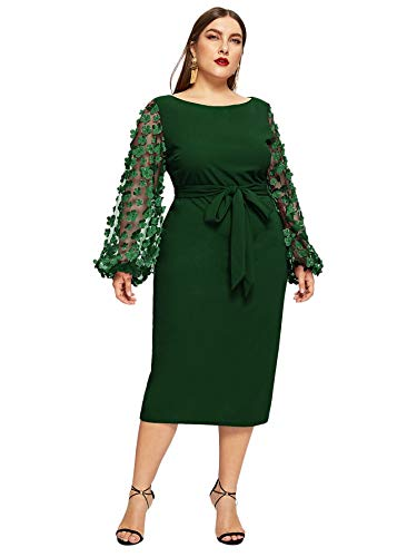 SheIn Women's Plus Elegant Mesh Contrast Appliques Sleeve Stretchy Bodycon Pencil Dress Deep Green 3X-Large Plus