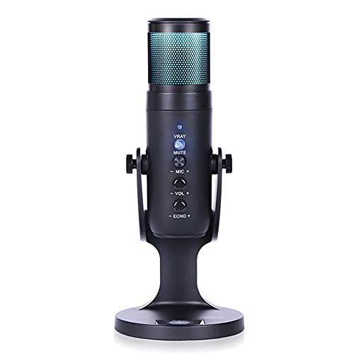 JD-950 Condenser Microphone USB Gaming Live Streaming RGB Light Condenser Type-C Mic for Windows Desktop PC Laptop
