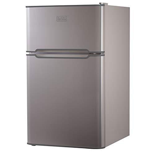 BLACK+DECKER Compact Refrigerator, 2 Door 3.1 cubic feet with True Freezer for Dorm, Office, Apartment with Removable Glass Shelves