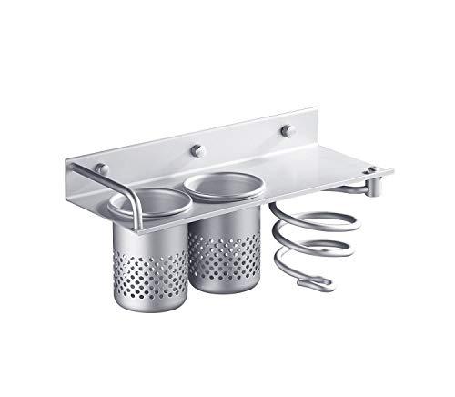 Yosoo Nuevo Multifuncional de Aluminio Rack Organizador para Organizador colección Espiral/Rack de Almacenamiento y Soporte para secador de Pelo de baño Soporte & Canister Tazas Pared
