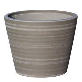 Gartentraum.de - Vaso per Piante Votum Gris, Rotondo, in gres, Colore: Grigio