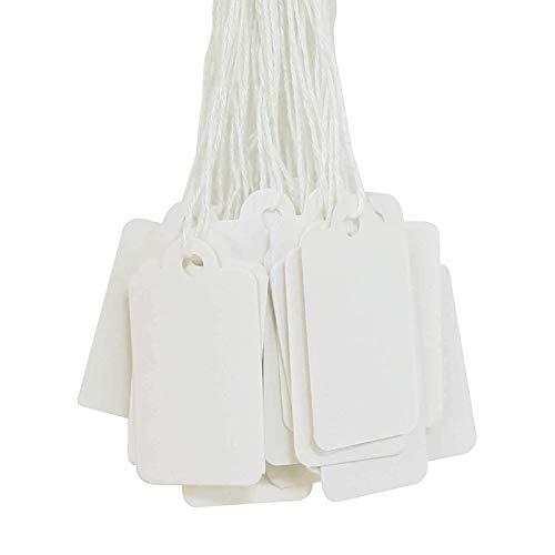 500 Pcs Strung Tags White Price Tags with String Mini Size Clothes Tags Hang Tags