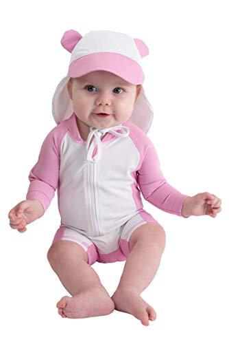 Sunzies - Traje de baño de una pieza para bebé, protección solar UPF 50+, manga larga, incluye gorra, Bear - Pink, 12-18 Meses