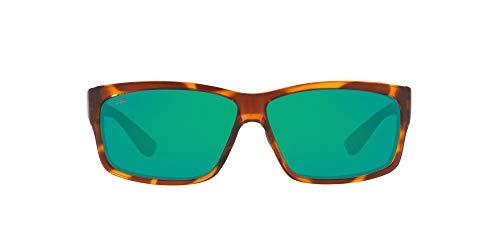 Costa Del Mar Men's Cut Polarized Rectangular Sunglasses, Honey Tortoise/Copper Green Mirrored Polarized-580G, 60 mm