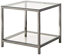Coaster Home Furnishings End Table with Shelf Black Nickel and Clear
