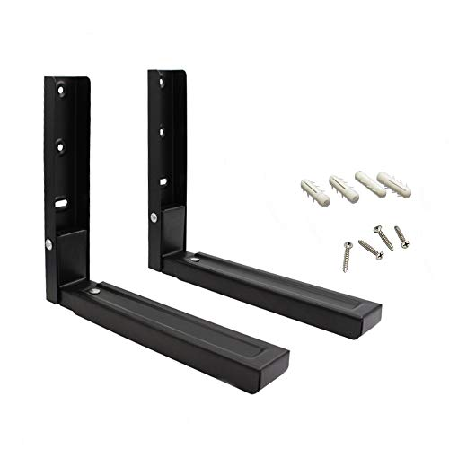 Universal Wall-Mounted Microwave Brackets - Foldable Kitchen Stretch Microwave&Oven(Set of 2) - Black