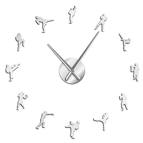 Reloj de pared Kickboxing Diy Reloj de pared Fighting Wall Art Cuarzo Acrílico Espejo adhesivo Reloj Kickboxing Entrenador Regalo Taekowndo Gimnasio Decoración para sala de estar y dormitorio, etc.