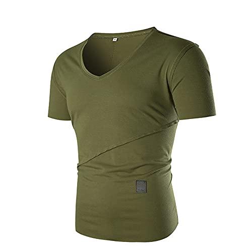 Deportiva Camisa Hombre Verano Cuello Redondo Moda Hombre Casuales Camisa Color Sólido Manga Corta Correr Shirt Slim Fit Elástica Tradicional Camisa Wicking Transpirable Shirt C-Green XL