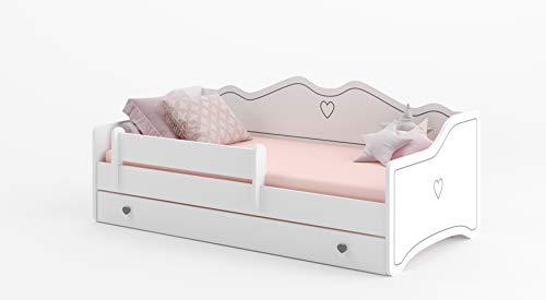 MEBLEKO Cama infantil EMMA 80x160+ marco + colchón + cajón, blanco