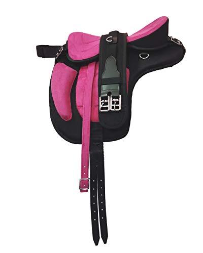 Y&Z - Sella da cavallo in tessuto sintetico senza treeless Freemax, con presa extra e circonferenza coordinata, misura 43 – 43 cm, colore: rosa