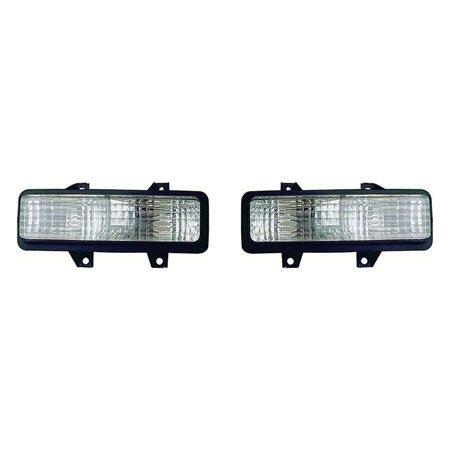 Fits Chevrolet/GMC R/V/Suburban/Jimmy/Blazer 1989-1991/Van 1992-1996 Parking Signal Light Assembly Unit Pair Driver and Passenger Side w/Dual Headlight GM2520130, GM2521130