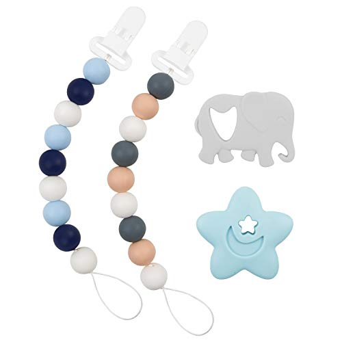 Babygoal Silicone Pacifier Clip for Boys, 2 Pack Teething Beads with Teething Toys fits Most Pacifier Styles, Soothie and Baby Gift 2GJL05-YJ